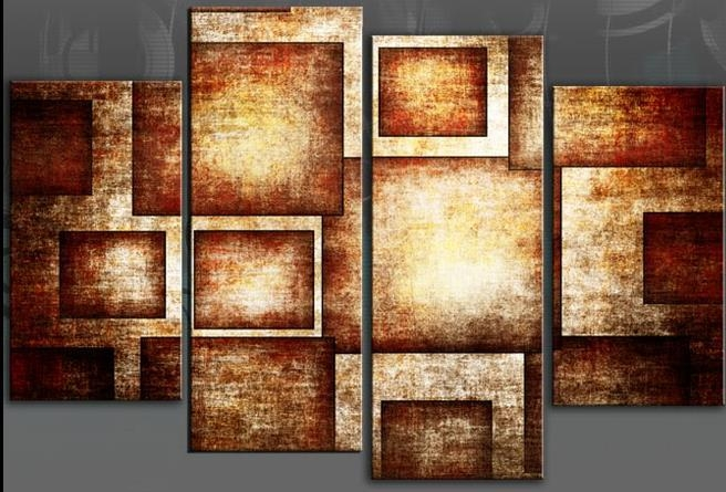 Brown Geometric Bold Canvas Wall Art Picture Abstract 4 Panel Throughout Orange Canvas Wall Art (View 13 of 20)