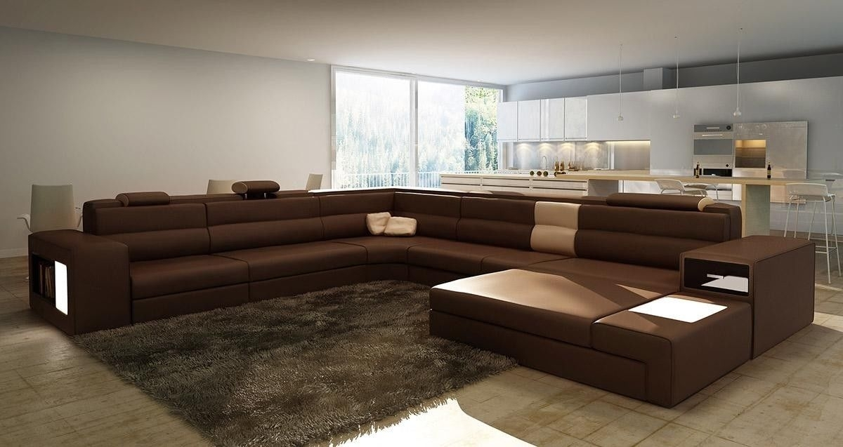 Brown Large Sectional — Awesome Homes : Beautiful Living Room With Pertaining To Large Sectional Sofas (Image 3 of 10)