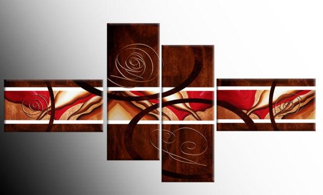 Brown Red White Wide Stretch 4 Panel Abstract Canvas Wall Art Pertaining To Red Canvas Wall Art (Image 4 of 20)