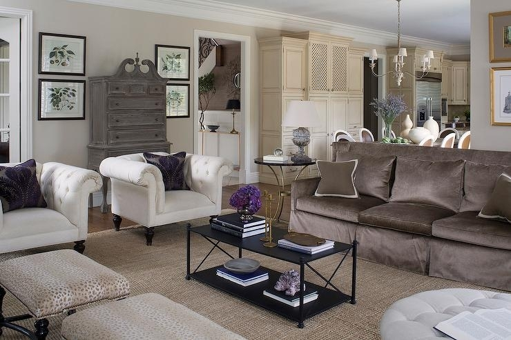 Brown Sofa With White Accent Chairs – Transitional – Living Room Intended For Accent Sofa Chairs (Image 1 of 10)