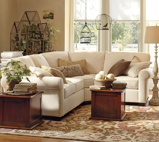 Buchanan Roll Arm Upholstered Curved 3 Piece Sectional With Wedge With Regard To Pottery Barn Sectional Sofas (View 2 of 10)