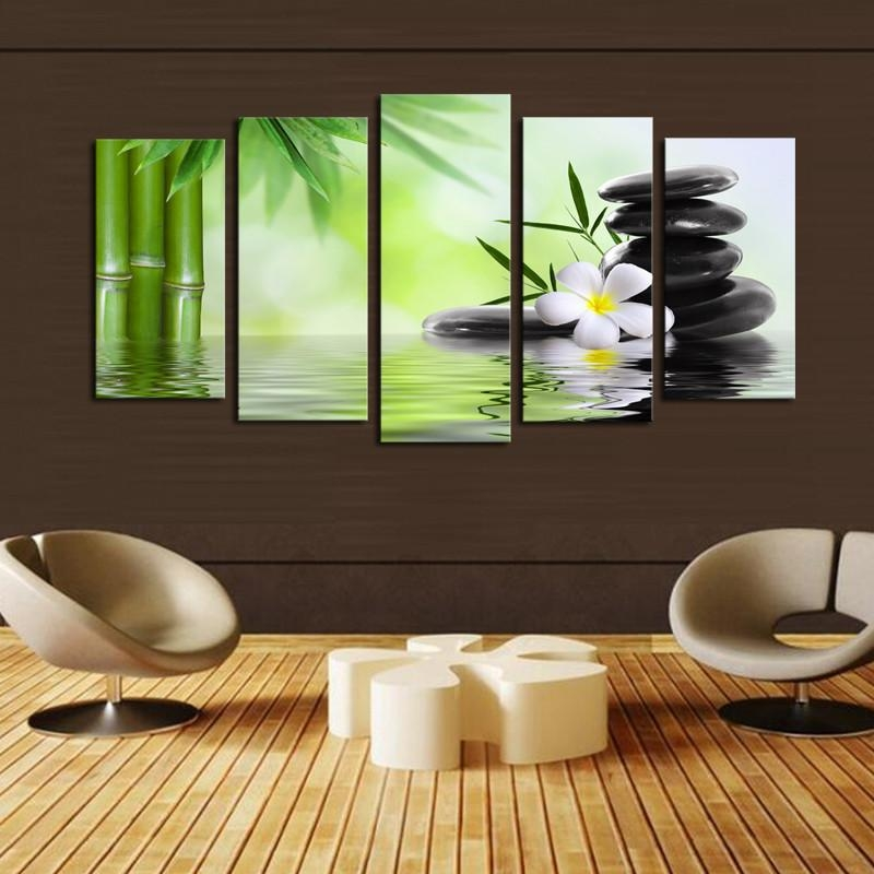 Buddha Nature Canvas Prints 5 Pieces Painting Wall Art Home Decor With Abstract Nature Canvas Wall Art (View 20 of 20)