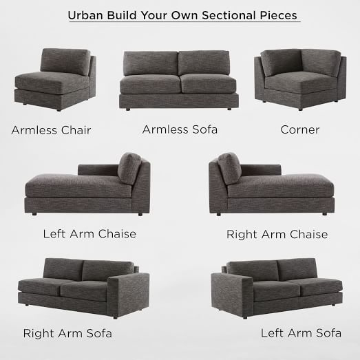 Build Your Own – Urban Sectional Pieces | West Elm Intended For Sectional Sofas That Come In Pieces (View 10 of 10)