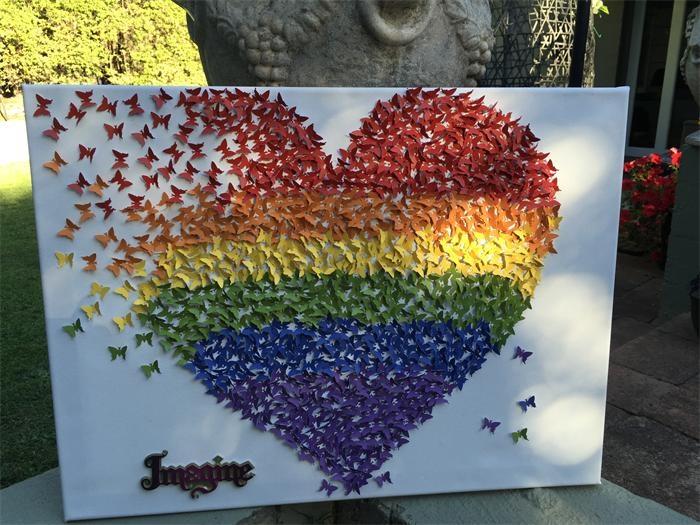 Butterflies Heart| Canvas Wall Art |3D Rainbow Heart Wall Art Inside Rainbow Canvas Wall Art (Image 4 of 20)