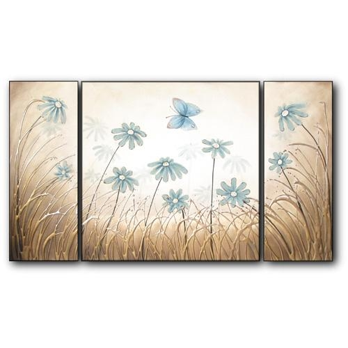Butterfly Daisy Dance Pertaining To Duck Egg Blue Canvas Wall Art (Image 4 of 20)