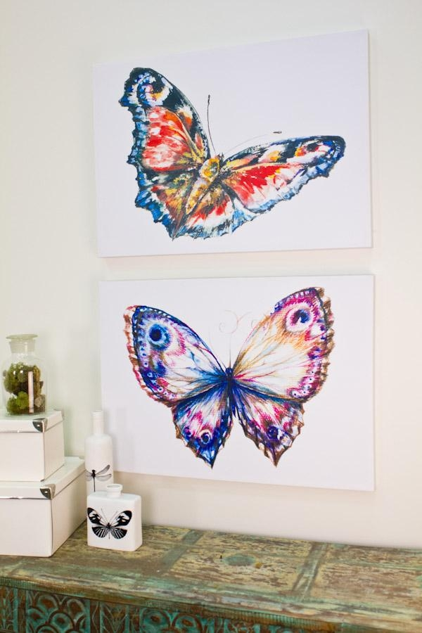 Butterfly Watercolor Canvas Art From Earthbound Trading Co Inside Earthbound Canvas Wall Art (View 17 of 20)