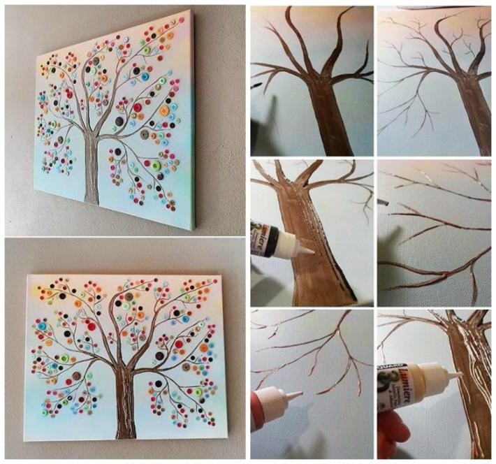 Button Tree Canvas Wall Art | Diy Cozy Home With Homemade Canvas Wall Art (Image 5 of 20)