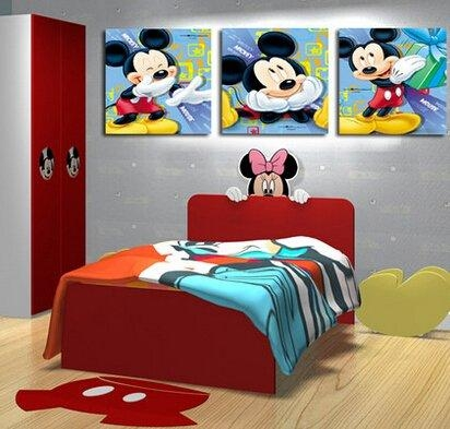 Buy 3P Disney Mickey Mouse Cartoon Picture Printed On Canvas For Mickey Mouse Canvas Wall Art (View 11 of 20)
