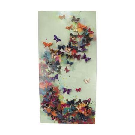 """Buy 40"""" Leau De Fleur Multi Colored Butterfly Liberation Inside Butterflies Canvas Wall Art (Image 8 of 20)"""