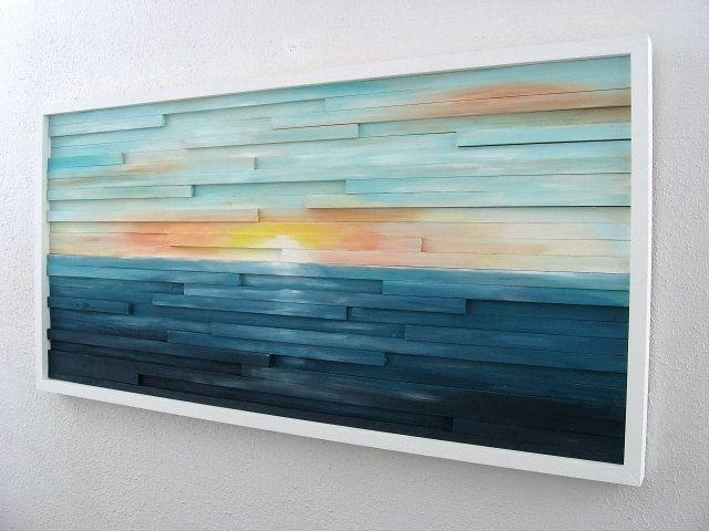Buy A Hand Made Abstract Lanscape Painting – Wood Wall Art, Made With Regard To Abstract Nautical Wall Art (Image 8 of 20)