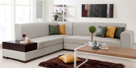 Buy Alden Rhs Sectional Sofa In Light Grey Leatheretteevok Regarding Sectional Sofas In Hyderabad (Image 2 of 10)