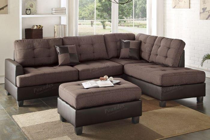 Buy Chocolate 3 Pieces Sectional Sofa In El Paso, Tx – Ecof Within El Paso Sectional Sofas (View 3 of 10)