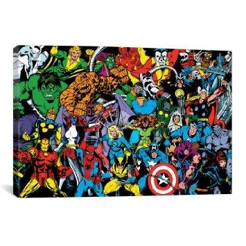 Buy Icanvas Marvel Comic Book Character Lineup Comic Logo Bg Intended For Marvel Canvas Wall Art (View 18 of 20)