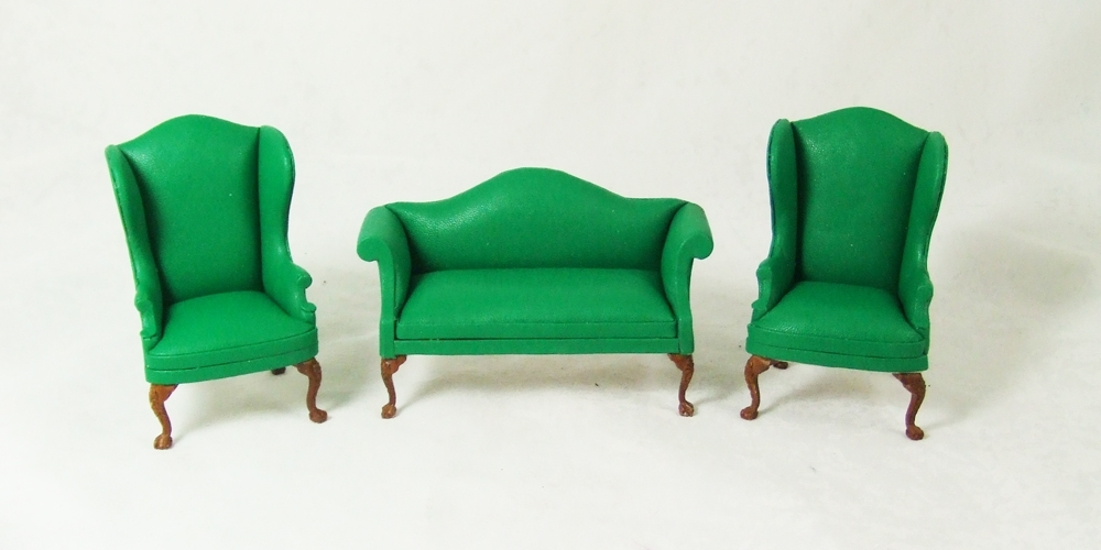 Ca059 Green Set, A Green Leather Sofa And Wingback Chairs Set In Green Sofa Chairs (Image 2 of 10)