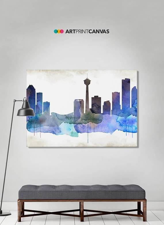 Calgary Print Calgary Watercolor Skyline Canvas Art Print Pertaining To Calgary Canvas Wall Art (Image 4 of 20)