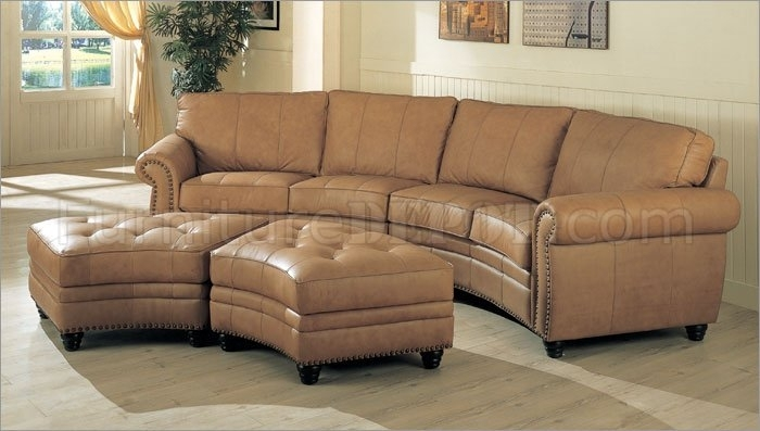 Camel Leather Sectional Sofa & Ottoman Set W/nail Head Design Intended For Camel Colored Sectional Sofas (Image 2 of 10)