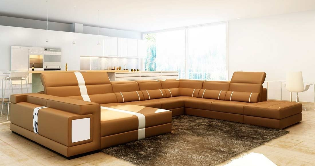 Camel Leather Sectional Sofa With Ottoman Vg144 | Leather Sectionals Inside Camel Sectional Sofas (Image 5 of 10)