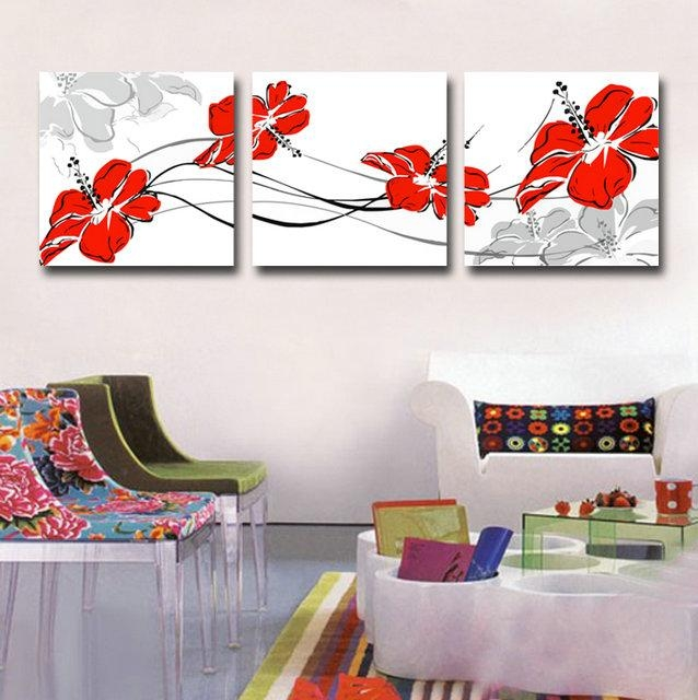Canvas Art Print Red Flower Set Of 3 Modern Wall Pictures For Intended For Red Flowers Canvas Wall Art (Image 1 of 20)