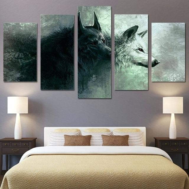 Canvas Bedroom Wall Art 5 Piece Printed Animal Wolf Art Canvas With Masters Canvas Wall Art (View 12 of 20)