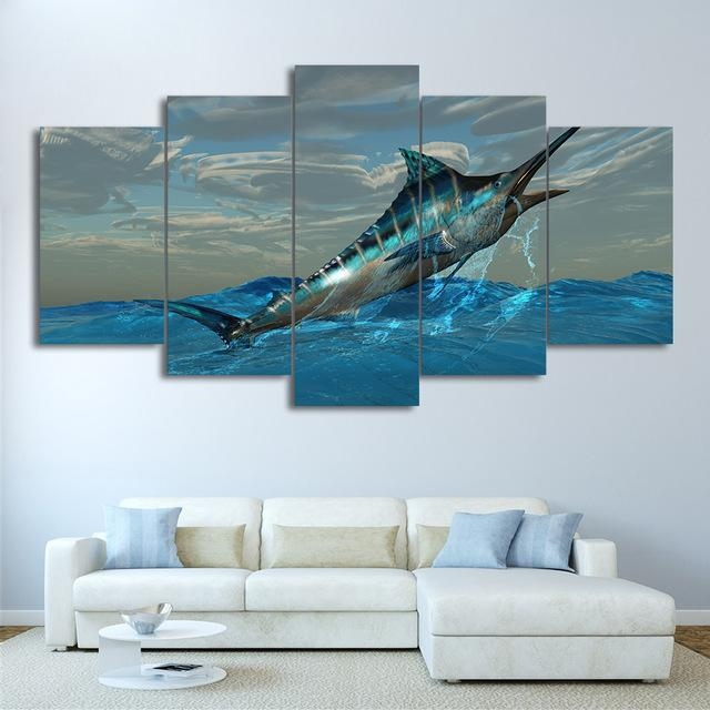 Canvas Frame Modular Print Living Room Decor Pictures 5 Pieces Pertaining To Jump Canvas Wall Art (Image 12 of 20)