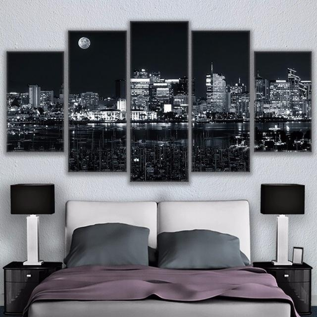 Canvas Home Decor For Living Room Wall Art Pictures 5 Pieces Los Pertaining To Los Angeles Canvas Wall Art (Image 6 of 20)