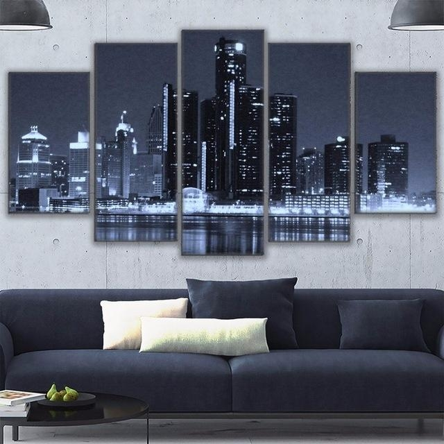 Canvas Painting Frame Wall Art For Living Room Decor 5 Pieces Pertaining To Houston Canvas Wall Art (Image 2 of 20)