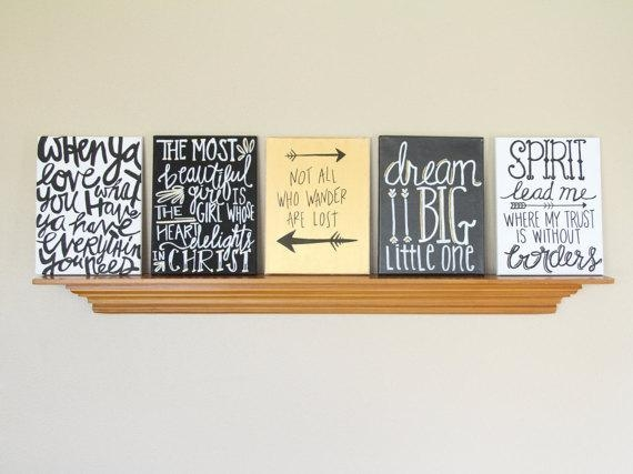 Canvas Painting Quotes Set Black Gold & White Handmade Intended For Canvas Wall Art For Dorm Rooms (Image 5 of 20)