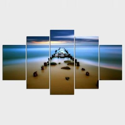 Canvas Painting Sea Bay Sunset Beach Canvas Wall Art Oil Picture Inside Beach Canvas Wall Art (Image 9 of 20)