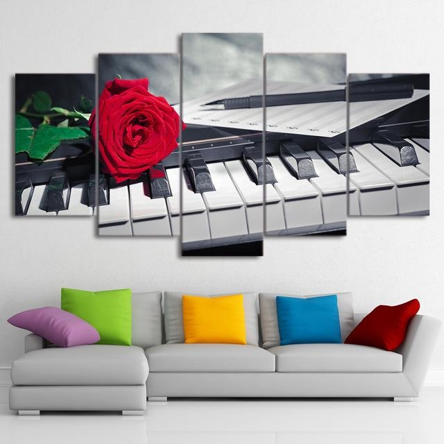 Canvas Painting Wall Art Abstract Decorative Pictures 5 Panel In Abstract Piano Wall Art (Image 9 of 20)
