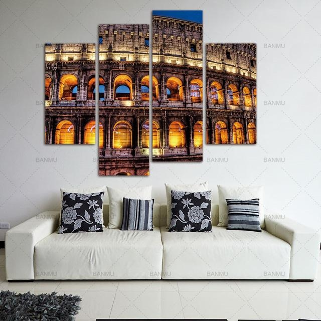 Canvas Painting Wall Art Pictures 4 Pieces Modern Wall Prints Rome Intended For Canvas Wall Art Of Rome (Image 8 of 20)