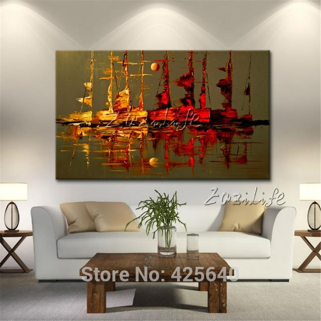 Canvas Painting Yacht Ship Sailing Boat Hand Painted Modern Intended For Abstract Wall Art For Living Room (Image 10 of 20)