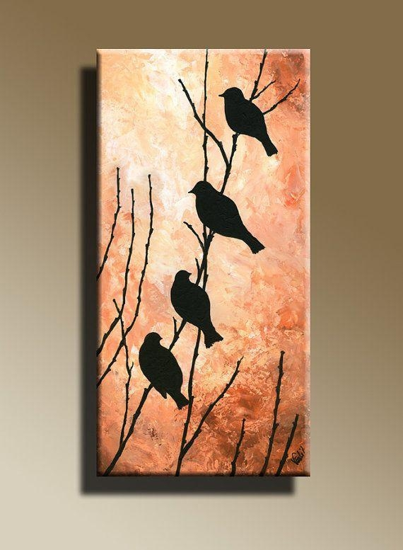 Canvas Print Of Original Acrylic Painting Night Bird Serenade Wall With Birds Canvas Wall Art (View 5 of 20)