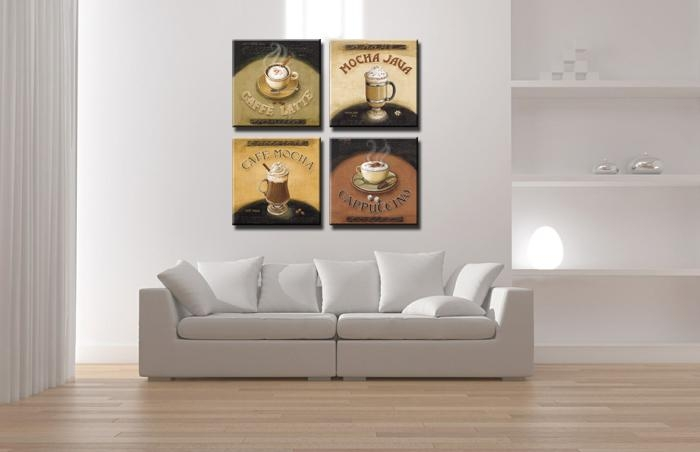 Canvas Print Painting Artwork, Cafe Styles Coffee Beans K704, Hd 4 In Coffee Canvas Wall Art (Image 5 of 20)
