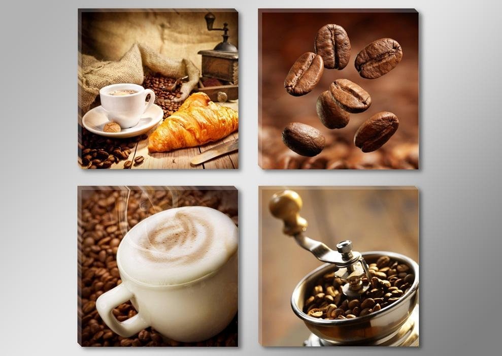 Canvas Print Painting Artwork, Cafe Styles Coffee Beans K712, Hd 4 With Regard To Coffee Canvas Wall Art (View 7 of 20)