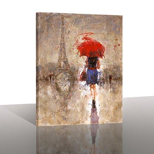 "Canvas Prints ""red Umbrella Walking On Paris"" Canvas Wall Painting With Regard To Canvas Wall Art Of Paris (Image 5 of 20)"