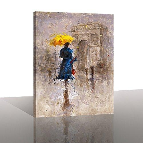 "Canvas Prints ""yellow Umbrella Walking On Paris"" Canvas Wall In Canvas Wall Art Of Paris (Image 6 of 20)"