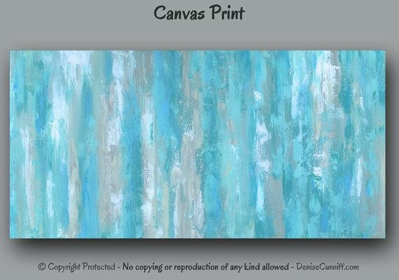 Canvas Wall Art Abstract Painting Giclee Art Print Teal With Regard To Masters Canvas Wall Art (View 19 of 20)