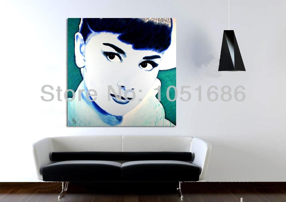 Canvas Wall Art Handmade Abstract Modern Audrey Hepburn Portrait Pertaining To Portrait Canvas Wall Art (Image 6 of 20)