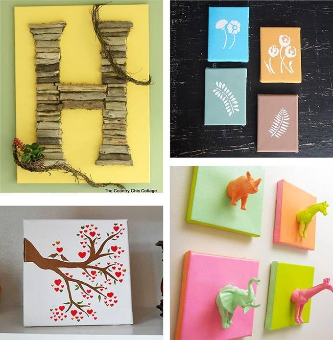 Canvas Wall Art Ideas: 30+ Canvas Tutorials Intended For Homemade Canvas Wall Art (Image 7 of 20)