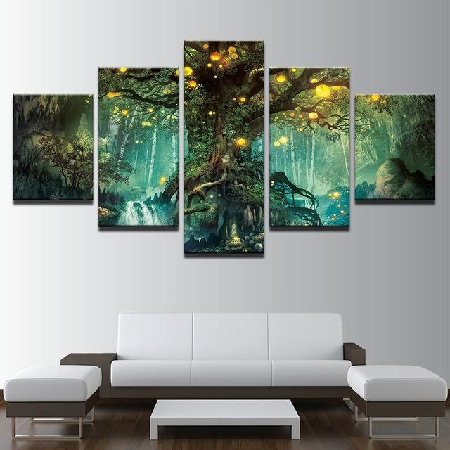 Canvas Wall Art Pictures Frames Living Room 5 Pieces Enchanted Within Nottingham Canvas Wall Art (View 13 of 20)