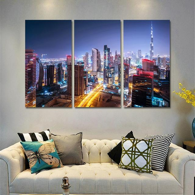 Canvas Wall Art Pictures Home Decor Frame 3 Pieces Dubai City Inside Dubai Canvas Wall Art (Image 7 of 20)