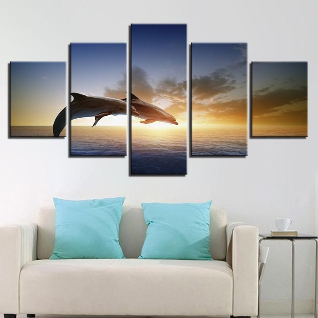 Canvas Wall Art Pictures Living Room Decor 5 Pieces Jumping For Jump Canvas Wall Art (Image 14 of 20)