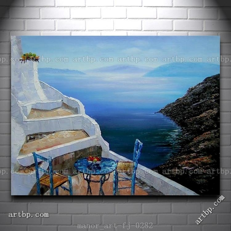 Canvas Wall Art Seascape Greece Oil Painting Modern Decor Hand With Regard To Greece Canvas Wall Art (Image 9 of 20)