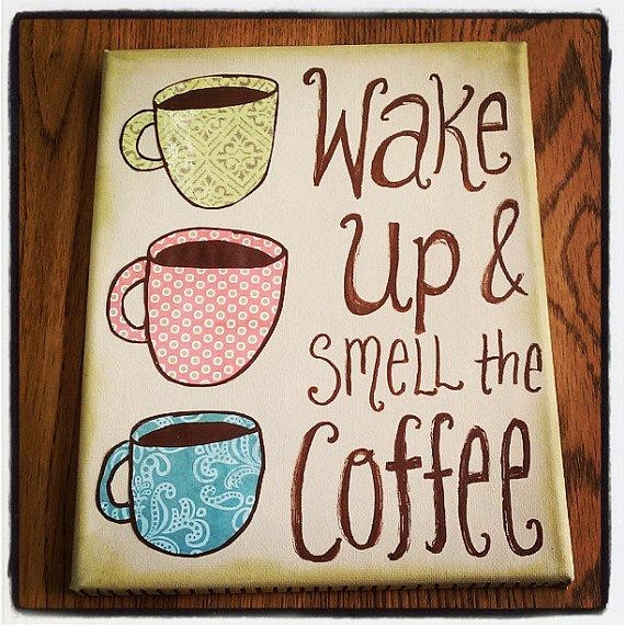 Canvas Wall Art – Wake Up And Smell The Coffee – Mixed Media Cups Within Coffee Canvas Wall Art (Image 7 of 20)