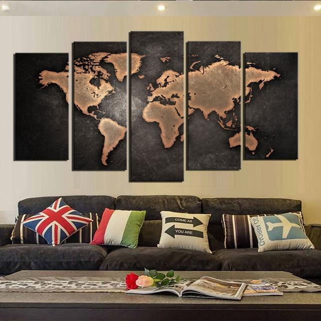Canvas Wall Art World Map Wall Decor 5 Piece Large Map Canvas Art Throughout Maps Canvas Wall Art (Image 10 of 20)