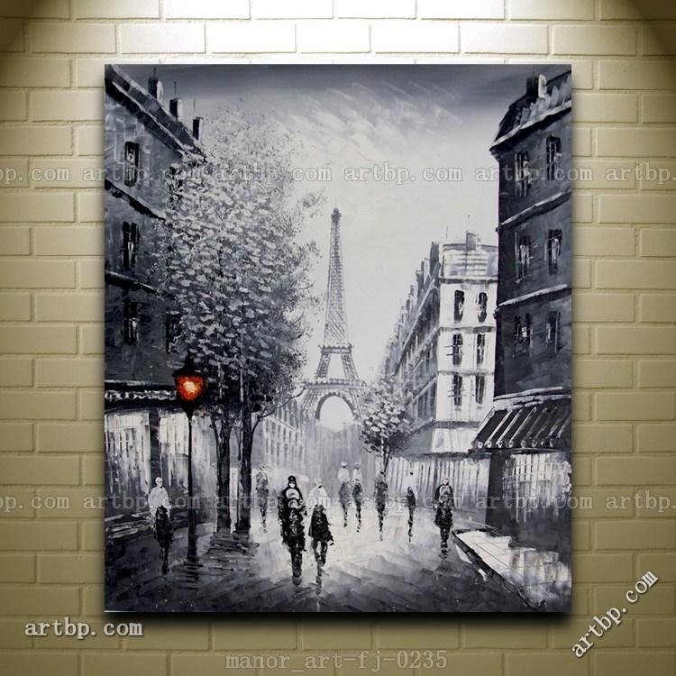 Canvas Wall Modern Art Paris Eiffel Tower Painted Oil Painting Intended For Eiffel Tower Canvas Wall Art (Image 4 of 20)