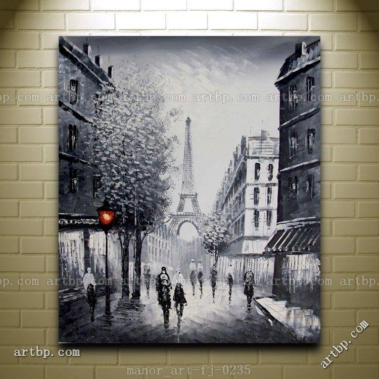 Canvas Wall Modern Art Paris Eiffel Tower Painted Oil Painting With Regard To Canvas Wall Art Of Paris (Image 7 of 20)