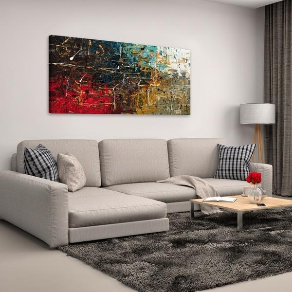 Carmen Guedez 'equilibrium' Canvas Wall Art (24 X 48) – Free For Overstock Abstract Wall Art (View 12 of 20)