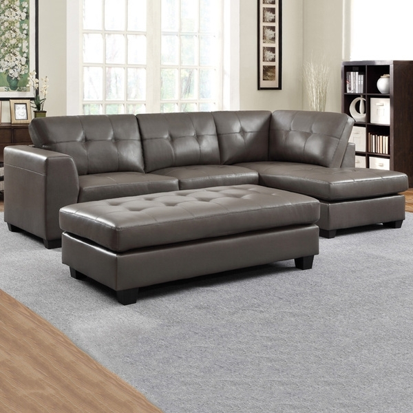 Carmine Grey Bonded Leather Sectional With Chaise And Optional Pertaining To Sectionals With Chaise And Ottoman (Photo 1 of 10)