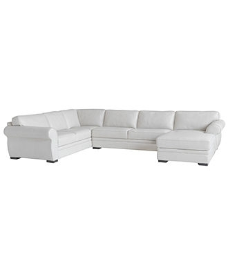 Carmine Leather Sectional Sofa, 3 Piece (Sofa, Armless Loveseat And Within Macys Leather Sectional Sofas (Image 2 of 10)